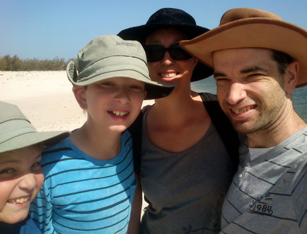 Family at the Tip of Bribie Island