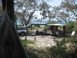 Forester, camper and campsite at Bribie