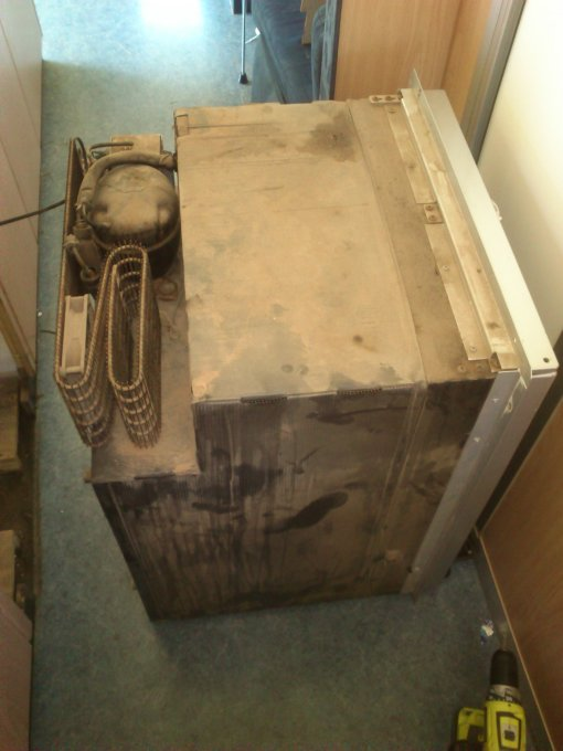 The motorhome fridge first revealed! Only a little dusty on the outside!