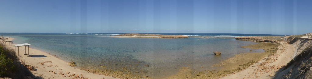 the lagoon, protected from waves and wind