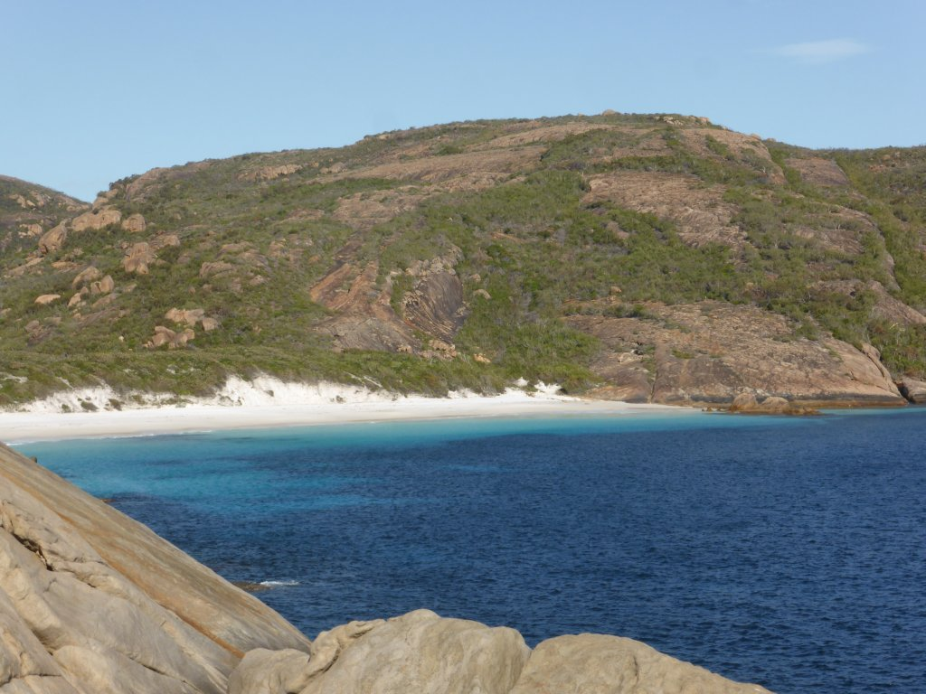 Looking around into Little Hellfire bay, from the headland
