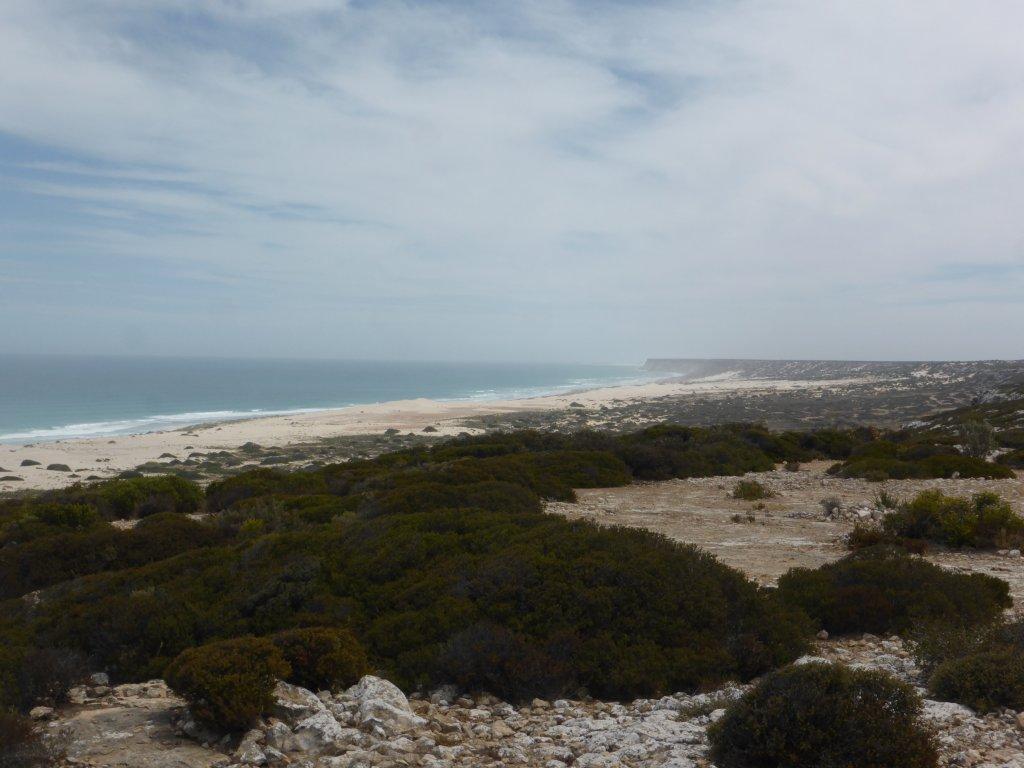 the coastline, looking back across the  SA/WA border