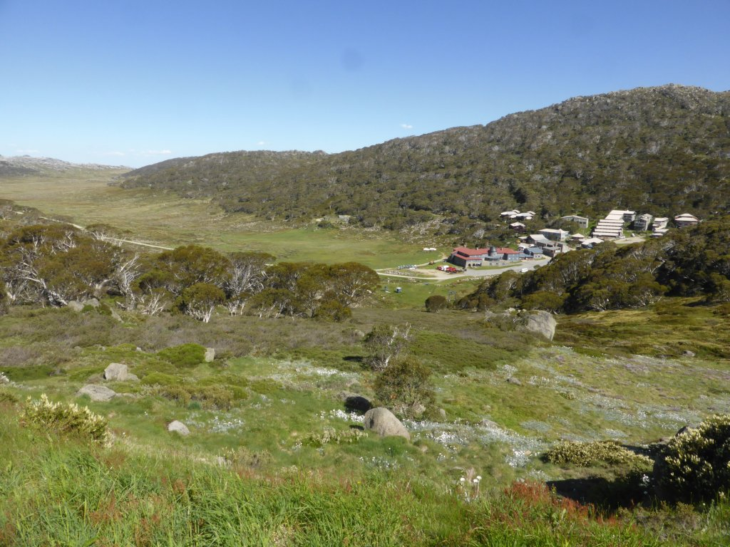 at Charlotte Pass, looking down on Charlotte Pass Ski Resort