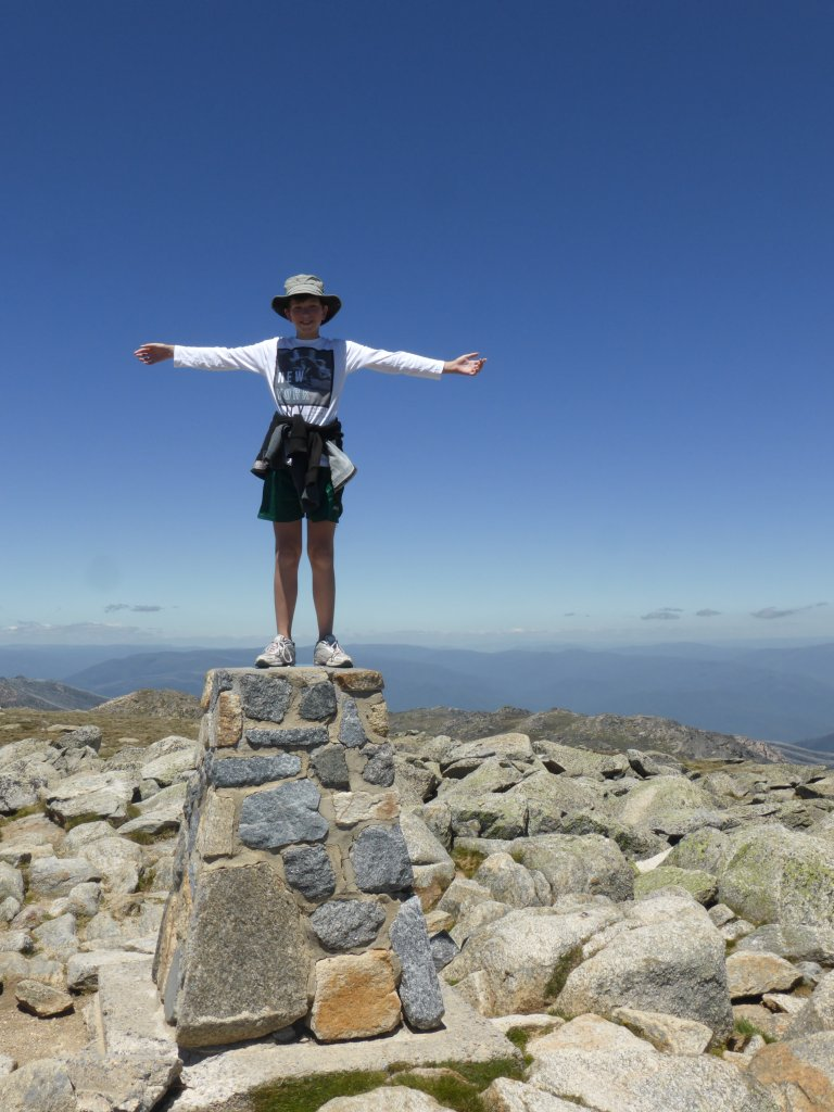 Jonathan at the summit of Mt Kosciuszko