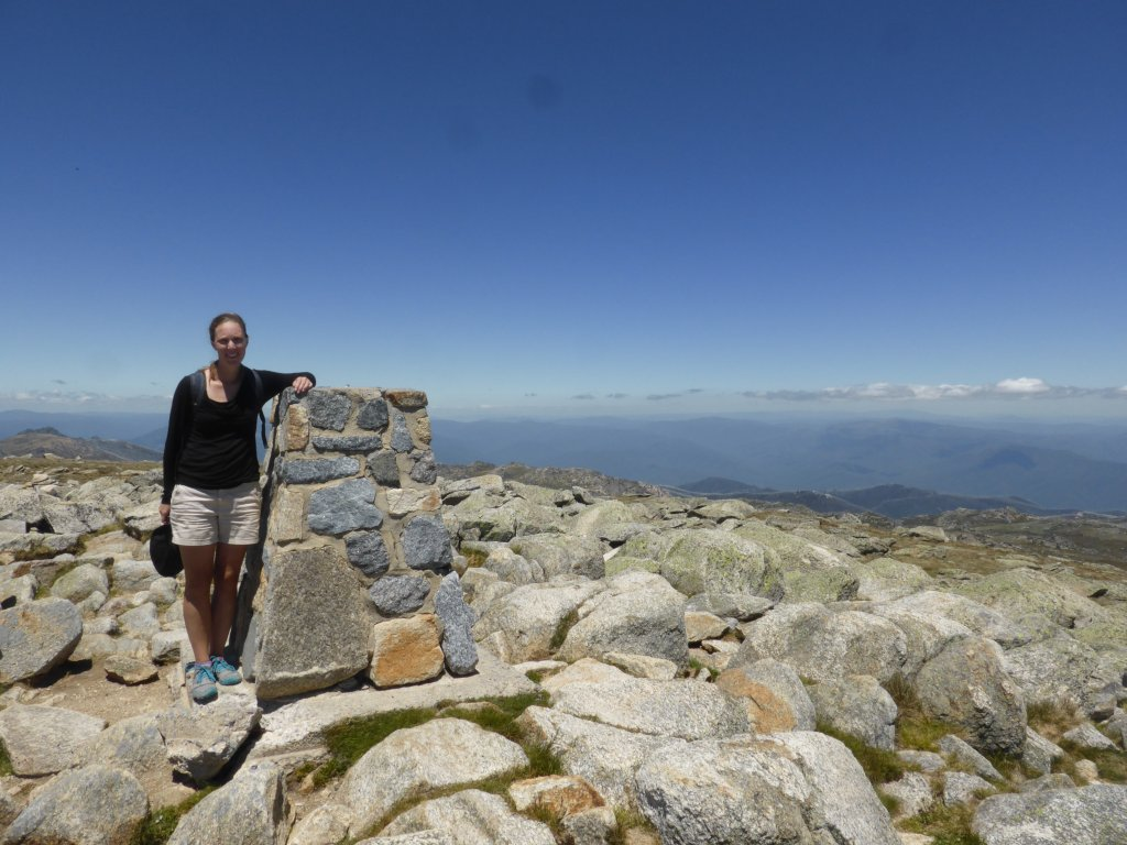 Nicole at the summit of Mt Kosciuszko