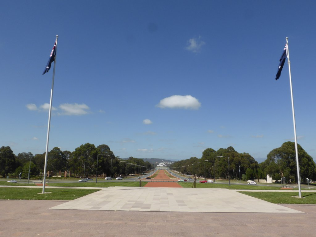 looking down Anzac Parade to Parliament House