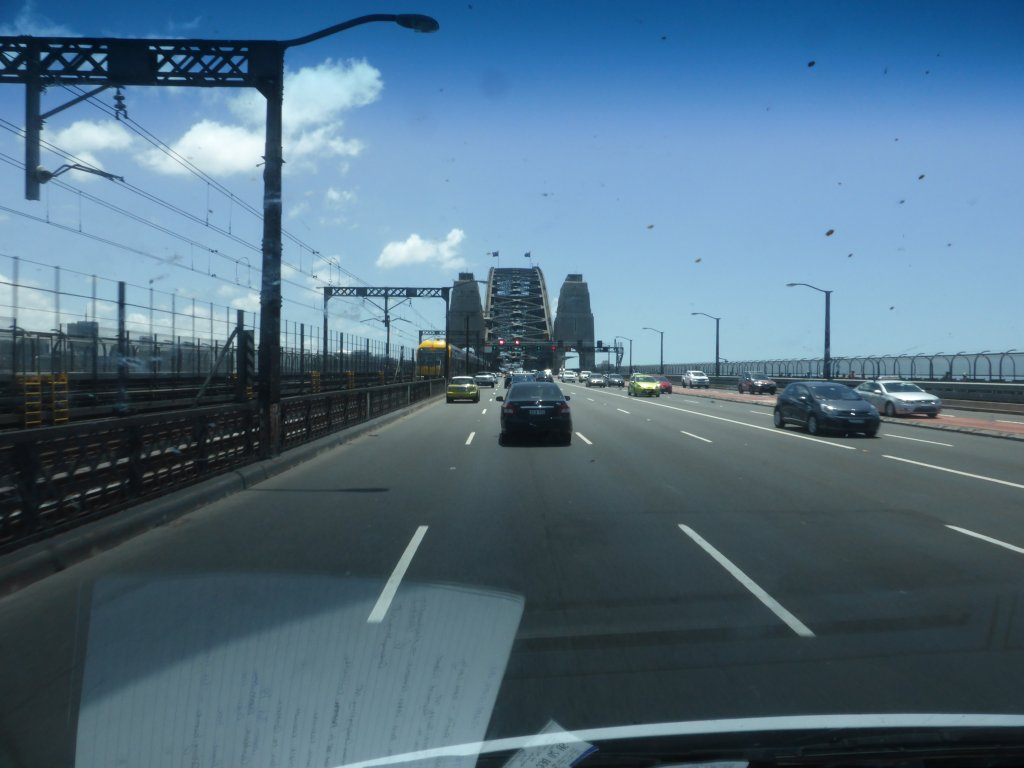 Sydney Harbour Bridge. Not the most beautiful angle to view it from!