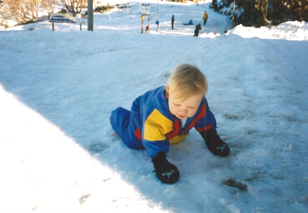 flashback photo: Jonathan crawling in the snow