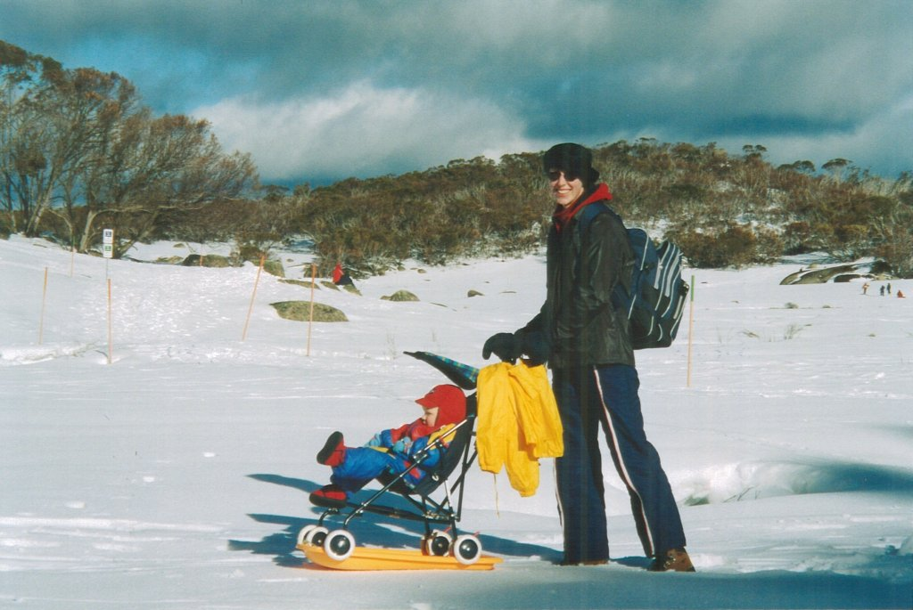 flashback photo: improvised  sled-stroller!
