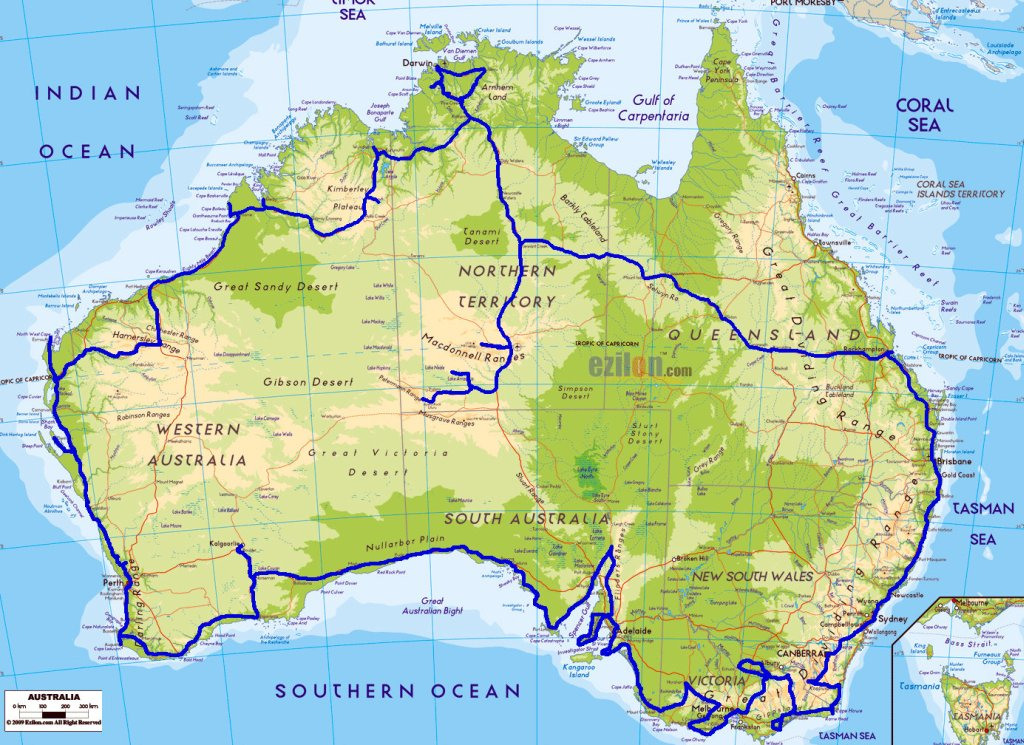 Our route Around Australia!  (approximate)